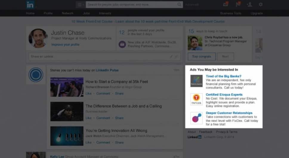 text ads format publicité linkedin ads agence instagram paris médias sociaux