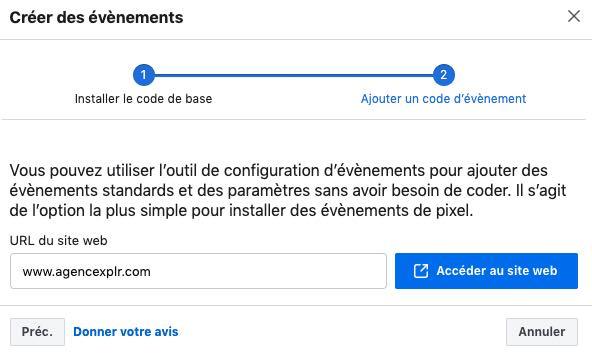 agence outil configuration evenement facebook pixel