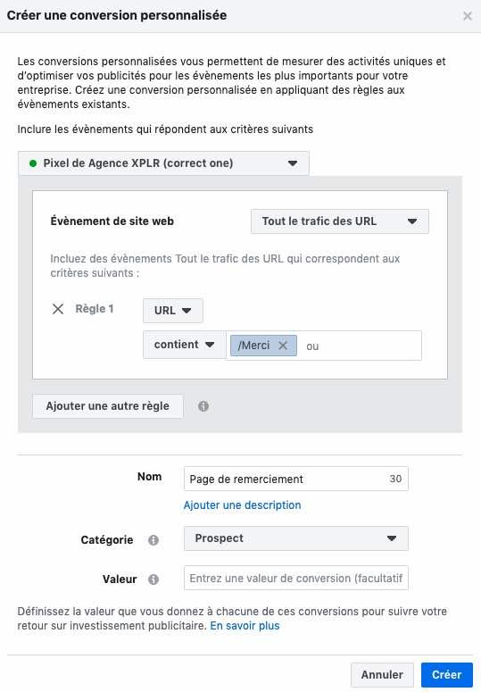 configurer conversions personnalisees
