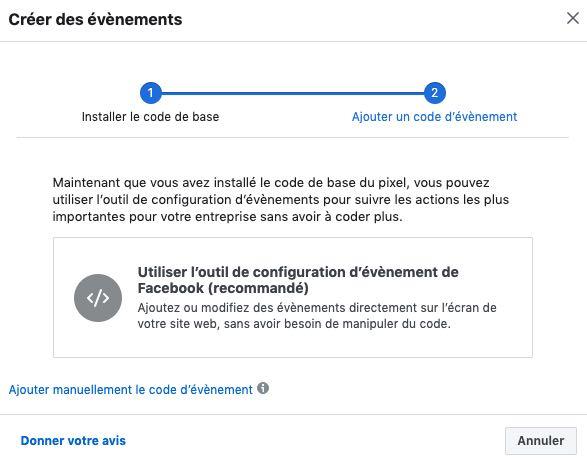 outil configuration evenement facebook pixel